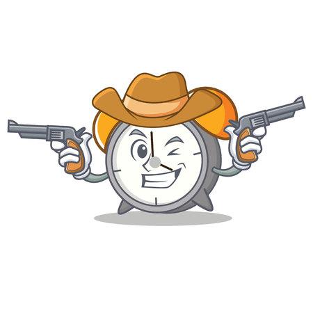 Cowboy alarm clock character cartoon vector illustration
