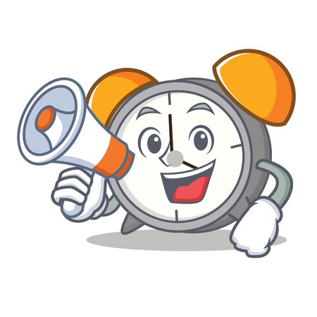 With megaphone alarm clock character cartoon vector illustration Иллюстрация