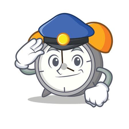 Police alarm clock character cartoon vector illustration