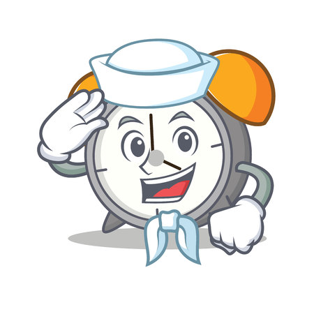 Sailor alarm clock character cartoon vector illustration