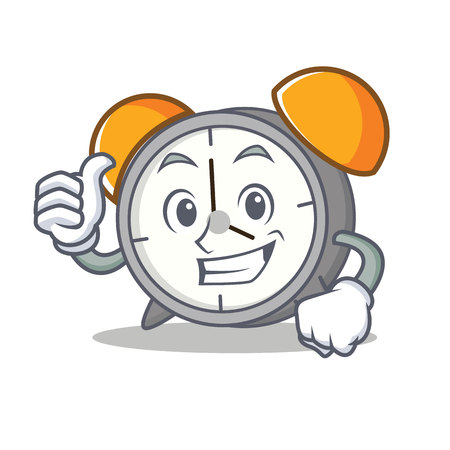 Thumbs up alarm clock cartoon character.