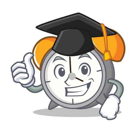 Graduation alarm clock character cartoon vector illustration