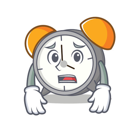 Afraid alarm clock mascot cartoon
