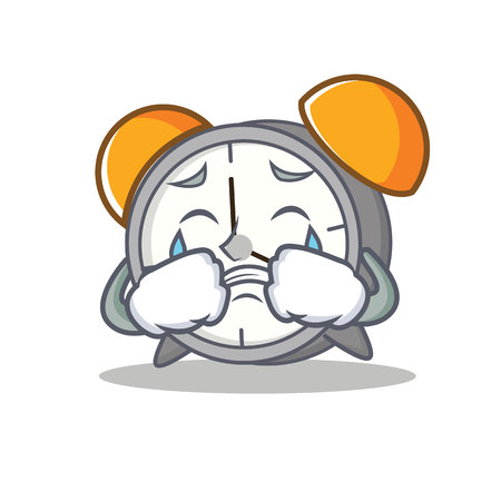 Crying alarm clock mascot cartoon