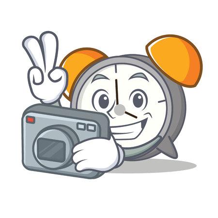 Photographer alarm clock mascot cartoon