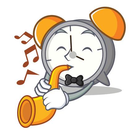 Wityh trumpet alarm clock mascot cartoon Illustration