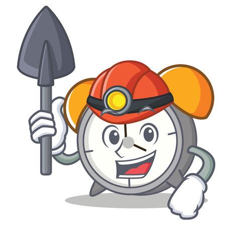Miner alarm clock mascot cartoon