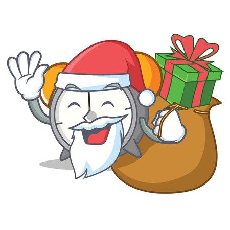 Santa alarm clock with gifts mascot cartoon