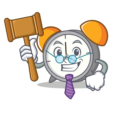 Judge alarm clock cartoon illustration.