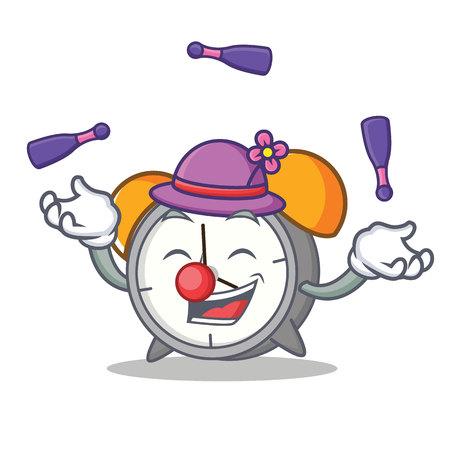 Juggling alarm clock cartoon illustration.