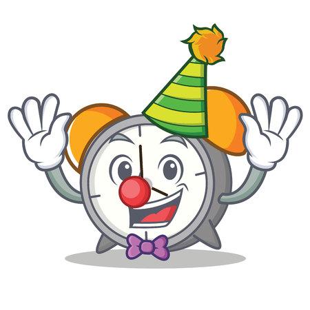 Clown alarm clock cartoon illustration.