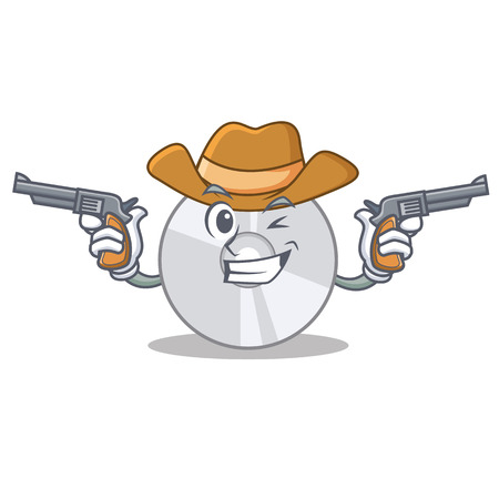 Cowboy CD character cartoon style vector illustration
