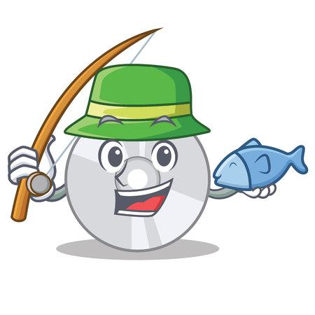 Fishing CD mascot cartoon style Illustration