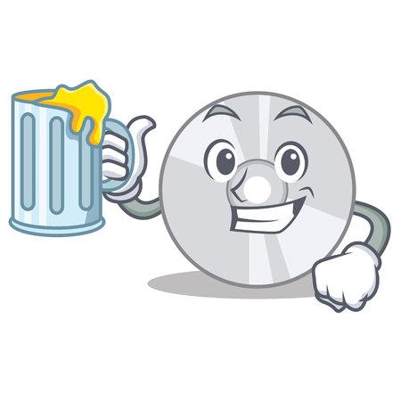 With juice CD mascot cartoon style