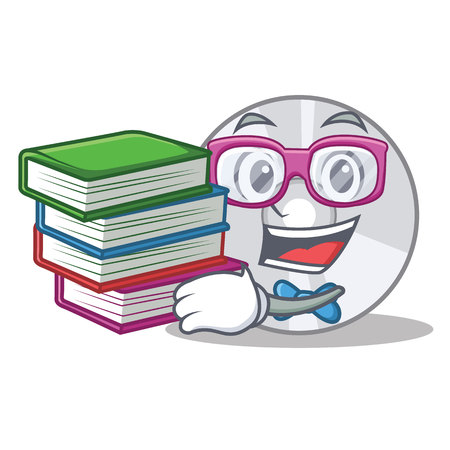 Student with book CD mascot cartoon style