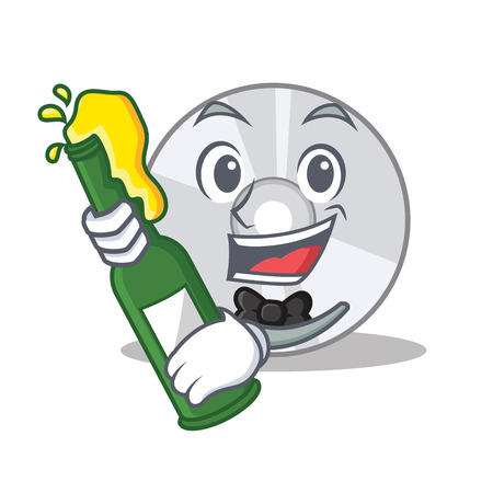 With beer CD mascot cartoon style Illustration