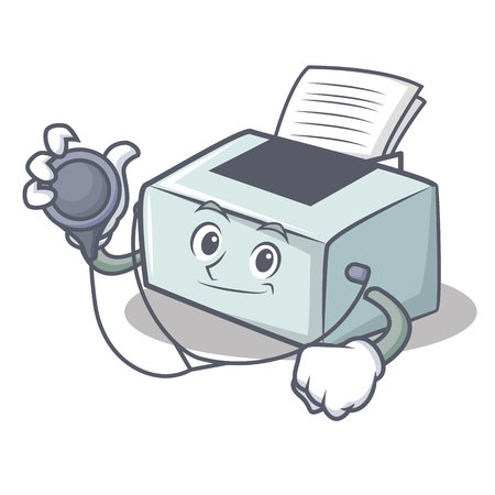 Doctor printer character cartoon style
