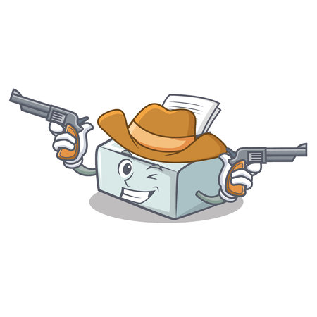 Cowboy printer character cartoon style vector illustration