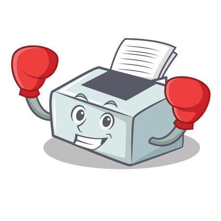 Boxing printer character cartoon style vector illustration