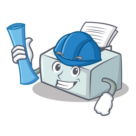 Architect printer character cartoon style vector illustration Illustration