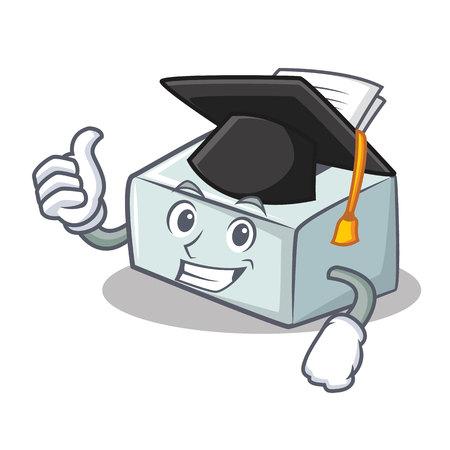 Graduation printer character cartoon style vector illustration