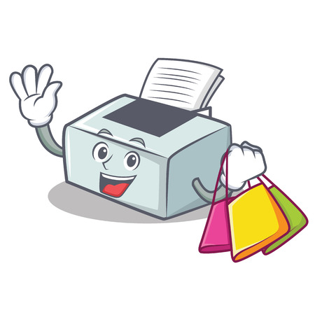 Shopping printer character cartoon style vector illustration