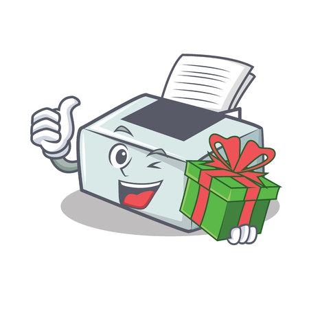 With gift printer mascot cartoon style  illustration.