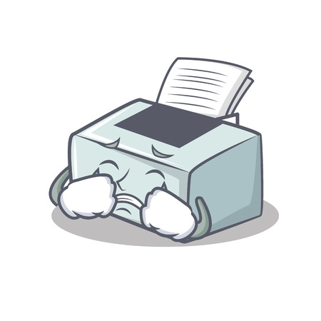 Crying printer mascot cartoon style illustration. Vectores