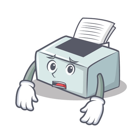 Afraid printer mascot cartoon style  illustration.
