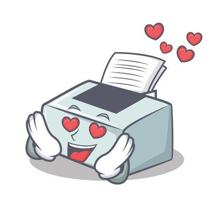 In love printer mascot cartoon style vector illustration