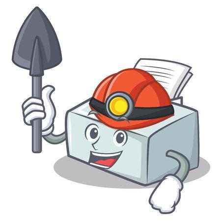 Miner printer mascot cartoon style Illustration