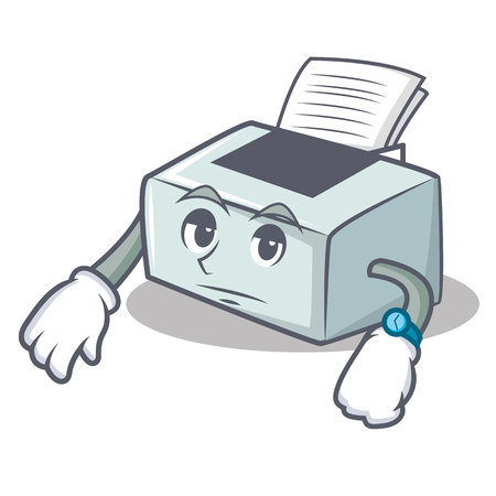 Waiting printer mascot cartoon style