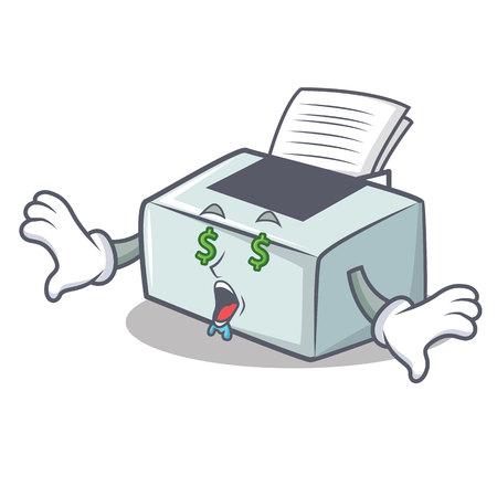 Money eye printer mascot cartoon style vector illustration Ilustração