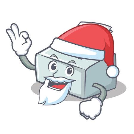 Santa printer mascot cartoon style vector illustration Illustration