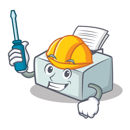 Automotive printer mascot cartoon style vector illustration Illustration