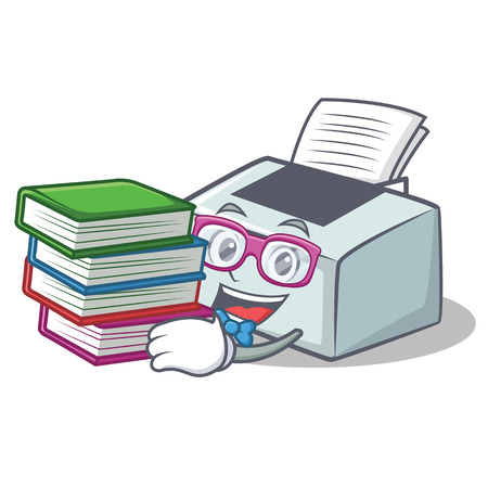 Student with book printer mascot cartoon style vector illustration Illustration