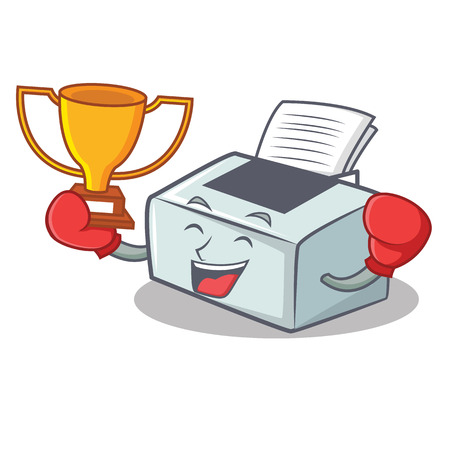 Boxing winner printer mascot cartoon style vector illustration 일러스트