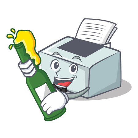 With beer printer mascot cartoon style vector illustration