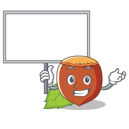 With board hazelnut character Illustration