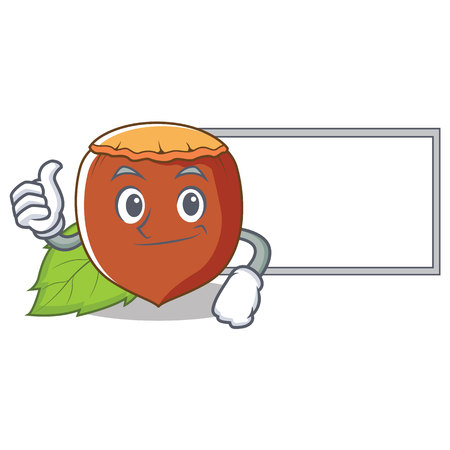 Thumbs up with board hazelnut character cartoon style vector illustration.