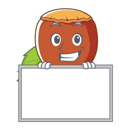 Grinning with board hazelnut character cartoon style vector illustration.