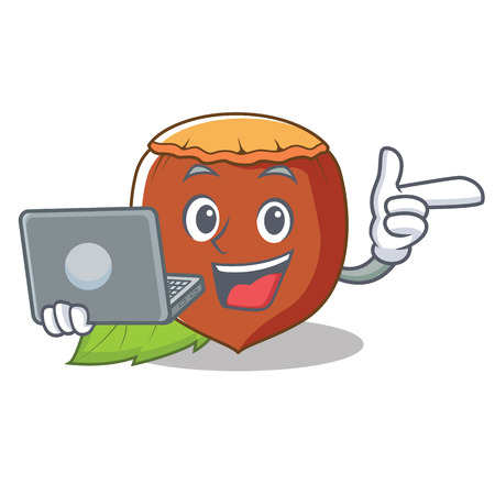 With laptop hazelnut character cartoon style vector illustration