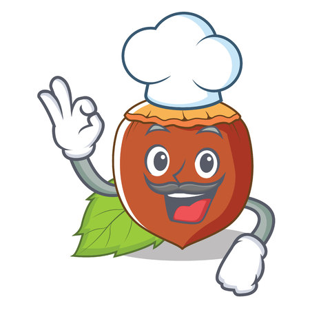 Chef hazelnut character cartoon style