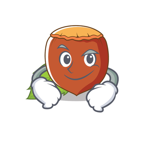 Smirking hazelnut character cartoon style vector illustration Illustration