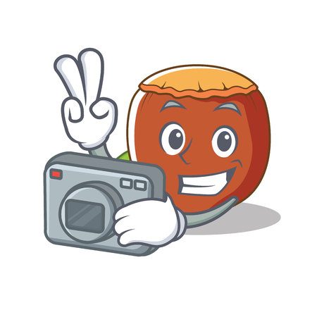 Photographer hazelnut mascot cartoon style vector illustration