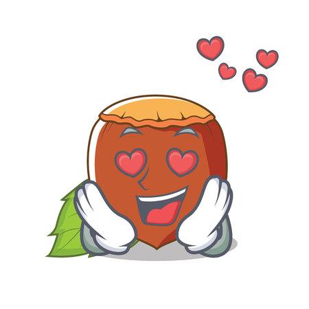 In love hazelnut mascot cartoon style  イラスト・ベクター素材