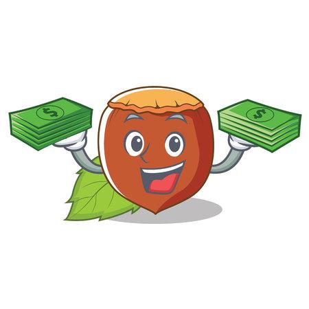 money hazelnut mascot cartoon style vector illustration