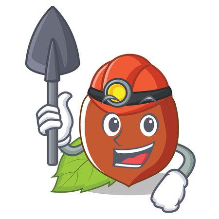 Miner hazelnut mascot cartoon style vector illustration