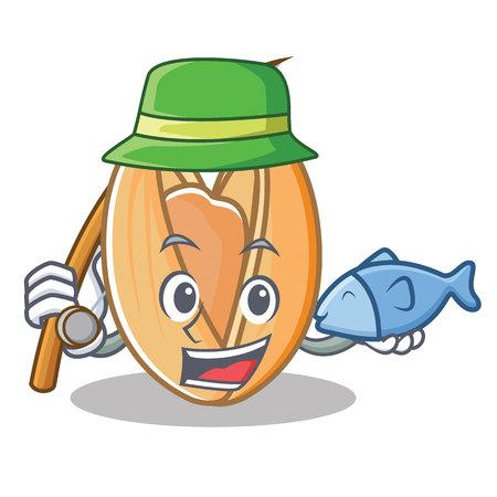 Fishing pistachio nut mascot cartoon vector illustration Illustration