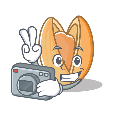 Photographer pistachio nut mascot cartoon
